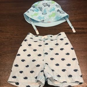 Other - Bundle Whale striped swim trunks 6-9 months & hat